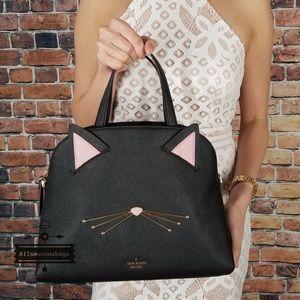 Kate spade black meow cat Lottie satchel leather